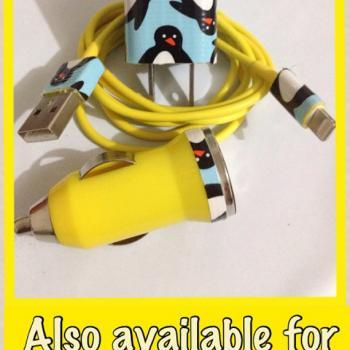 Customized Colored Cute Penguin I Phone 4/4S IPhone 5 Charger customized for you 3 in 1