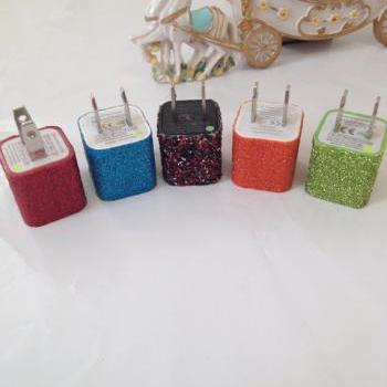 Customized Glitter IPhone 3/3g 4/4s & IPhone 5 In different colors glitter 3 in 1 Charger